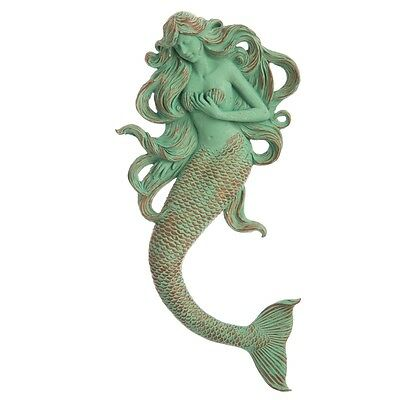 Nautical Coastal Beach Cottage - Green Mermaid Wall Plaque Sculpture 19""