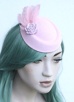 Lilac Rose Pastel Pink 50s Style Fascinator Flower Feather Bridal Races Mini Hat