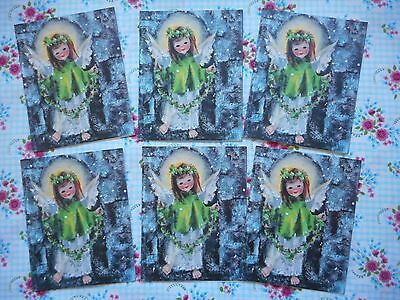 Six unused vintage/kitsch/retro 70's Christmas cards, cute angels, no envelopes