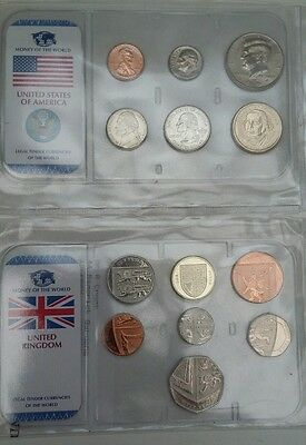 Money of the world UK  USA coins