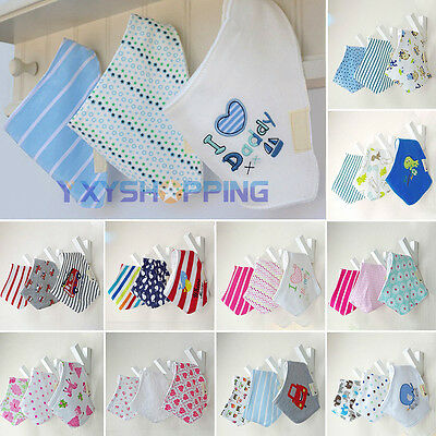 3PCS Cute Baby Bandana Feeding Bibs Cotton Saliva Towel Dribble Tiny Scarf 0-3Y
