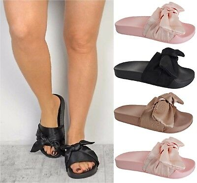 Ladies Womens Flats Slip On Mules Satin Bow Sliders Rubber Sandals Slippers Shoe