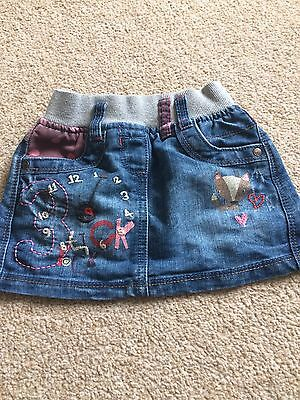 Next Girls 9-12 Months Denim Skirt