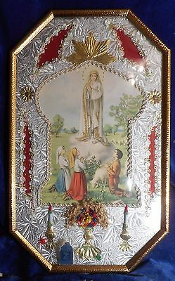 Antique 3D Religious Picture Mary Appearing To Children Convex Glass Metal Frame