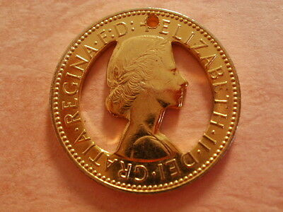 Gold Plated Profiled Old Half Penny pendant