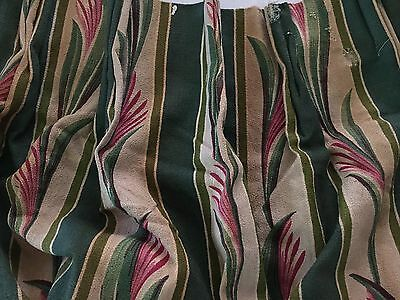 """Vintage Tropical  Floral Barkcloth Pleated Drapery Panel Lined Fabric 25"""" x 82"""""""