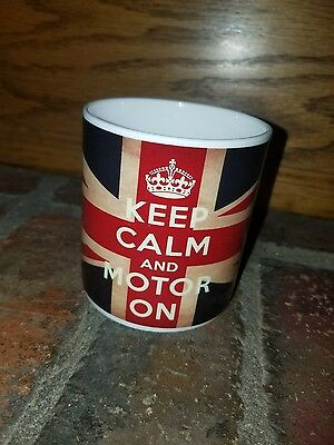 Land Rover/Jaguar mug KEEP CALM AND MOTOR ON made in England Britain UK Flag
