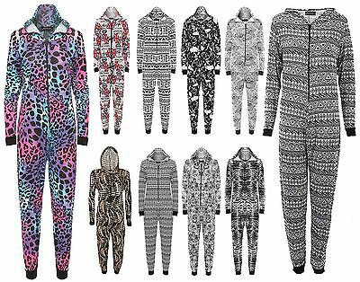 Ladies Zip UP Viscose Jersey Print Playsuit Womens Long Sleeve Hooded Jumpsuit
