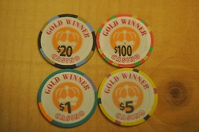 4 Casino Chips From The Gold Winner Casino Mint Condition