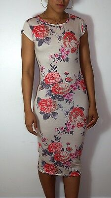 Ladies Floral Jersey Bodycon Short Sleeve Womens Party Midi Summer Dress