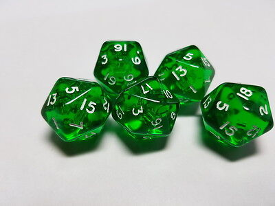 Dice & Games Gem 5 x D20  Dice Set Green with White
