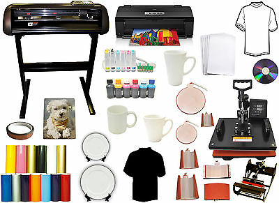 "8in1 Combo Heat Press,1000g Metal Vinyl Cutter Plotter,13x19"" Large Printer CISS"
