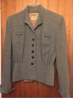 Stunning 1940's vintage women's skirted jacket; gray with mauve crepe lining
