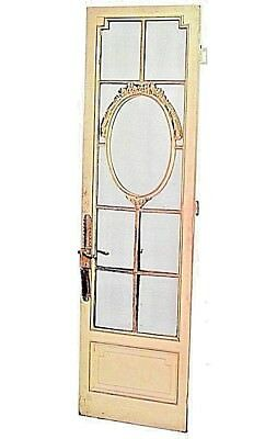 Pair of French Louis XVI Style White and Gold Painted Mirrored Doors