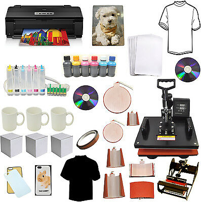 8in1 Pro Sublimation Heat Transfer Press 13x19 Wireless Printer Refil Ink Bundle