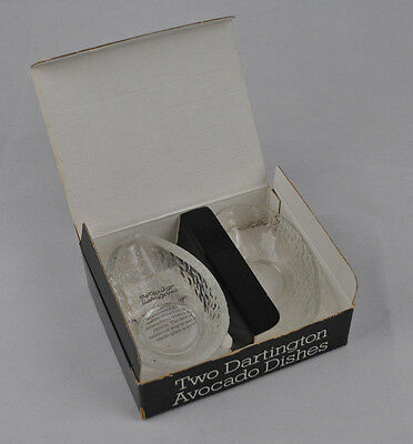 2 Dartington Lead Crystal Avocado Dishes FT137 Frank Thrower Design Boxed Pair