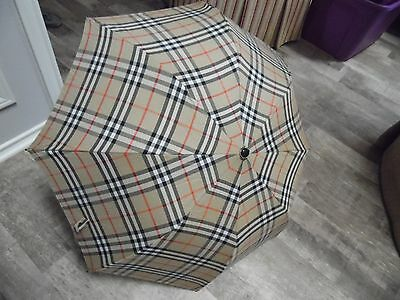 """Burberry Compact Umbrella With Case 15"""" Wood Handle Classic Plaid"""
