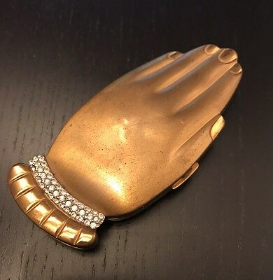 Antique Volupte Hand Compact with Rhinestones