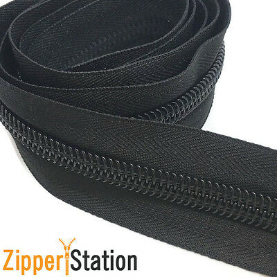 5 meters BLACK Continuous Zip Zippers, Sizes 3,5,8,10 includes 5 Slides,