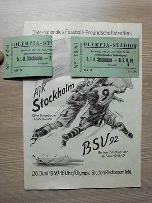 1949 Berliner SV - AIK Solna / AIK Stockholm + 2 Tickets Friendlymatch 16 Pages