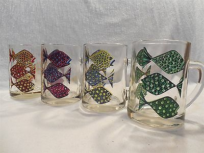 Vintage Mid Century Modern Fred Press Glass Handled Mugs W/Colorful Fish Set 4
