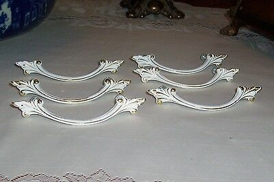 "LOT 6- French Provincial White Shabby  Drawer Pulls  3"" Centers, Screws Include"