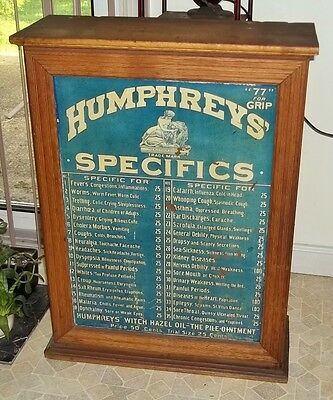 Antique Humphreys' Country Store Display Cabinet- Advertising Humphrey Remedies
