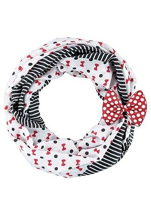Disney Parks Minnie Mouse Icon Bow Dots Striped Infinity Scarf White & Black NEW