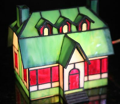 Beautiful Stained glass tiffany style lighted house, accent light