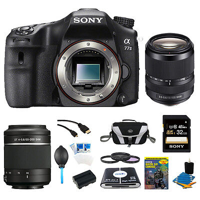 Sony a77II 24.3MP HD 1080p DSLR Camera (Body) w/ 18-135mm & 55-200mm Lens Bundle