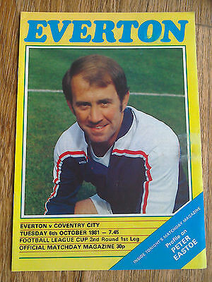 06/10/1981 Everton Vs Coventry City League Cup Football Match Programme