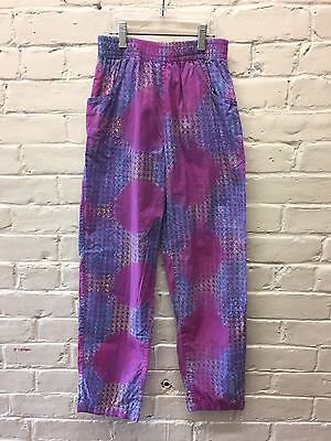 Vtg Kuda Pants Girl 10 Batik Cotton Purple Boho Loose Pockets Pull On EC