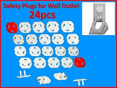 Children's Safety - 24 Protectors Covers Caps Plugs for Wall Electricity Outlets