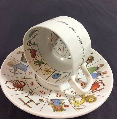 JON ANTON the Taltos Fortune Telling Teacup Ironstone Cup Saucer England flaws