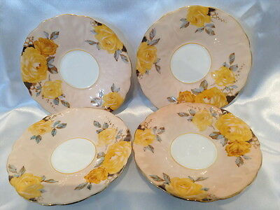 ♡ AYNSLEY RARE APRICOT PEACH YELLOW ROSE REPLACEMENT SAUCERS 13.3cm