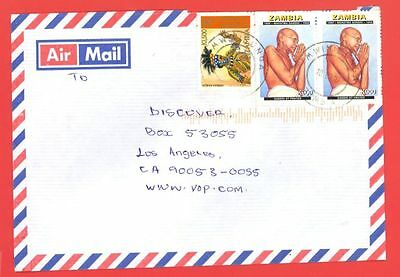 Zambia Topic India GANDHI K900 Pair used on cover to USA