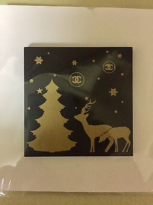 Chanel Holiday Pin Magnetic Black Gold Reindeer Tree Square Rare