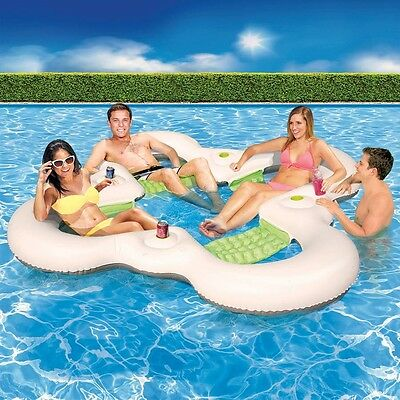 7.5-Ft Sport Family Backyard Fun 3-Person Swimming Pool Float Lounger Cup Holder