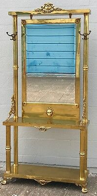 Neoclassical / Victorian Brass Hall Tree Coat Hanger, Console Table  With Mirror