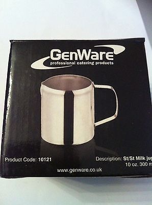 Genware Shiny Stainless Steel Milk Jug 10oz 300ml Cafe Restaurant Catering 10121