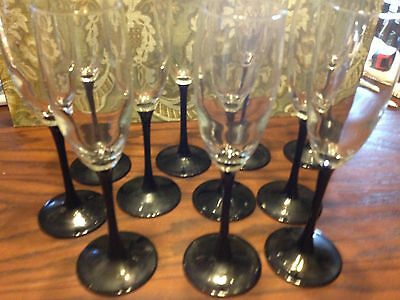 CRYSTAL CHAMPAGNE FLUTES GLASSES BLACK STEM FRANCE 6 oz