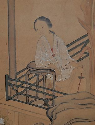 Antique Chinese Painting on Paper of a Lady with a Fan Framed