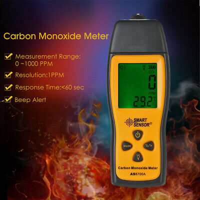 Portable LCD Carbon Monoxide Meter CO Gas Tester Monitor Detector 0-1000ppm
