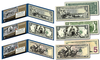 1890's EDUCATIONAL SERIES Neoclassical NEW Legal Tender Bills $1-$2-$5 *Set of 3