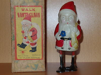 Rare Celluloid & Tin Occupied JAPAN Wind-up WALK SANTA CLAUS Toy w/Original Box!