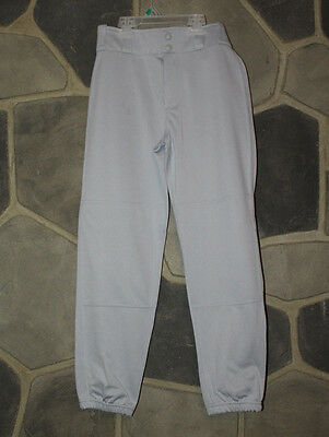 NIKE Youth Gray Baseball Pants Two Rear Pockets Reinforced Knees Size Large