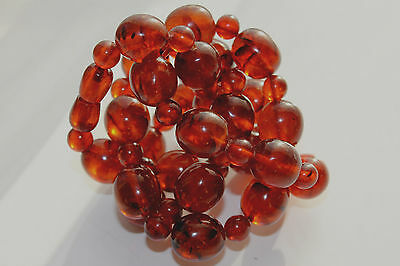 "VINTAGE 60's Russian Amber Honey color Bead Necklace 59 Gr 26.25 "" Long"