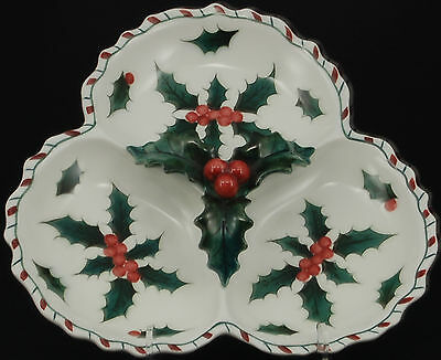 Lefton Holly Candy Cane Handled 3 Part Divided Relish Server IMPERFECT