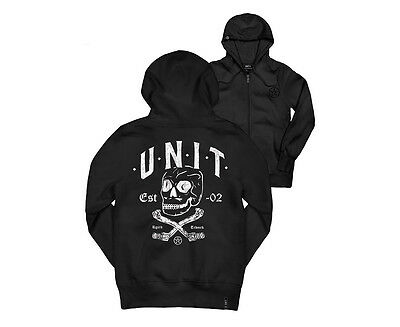 Unit Youth Fleece Pinning Zip Through Hoodie - Black/White
