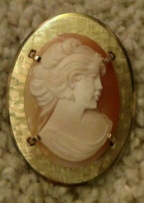 "Vintage Krementz Carved Shell Cameo Pin Brooch W/ Pendant Bail Loop 1.5"" Nice!!"